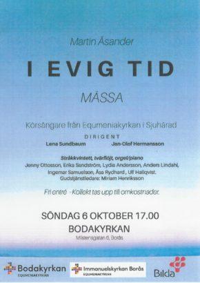 """Mässa """"I evig tid"""" Musikgudstjänst i Bodakyrkan söndagen 6 oktober kl 17:00"""