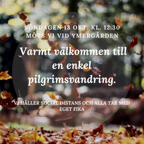 Pilgrimsvandring Söndagen 18 oktober kl 12:30 vid Ymergården