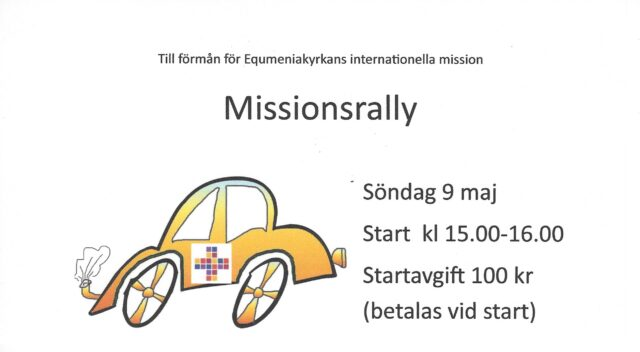 Äntligen ett Missionsrally OBS! Nya tider; Start mellan 14-15:30 och startkort inlämnas senast 18:30.