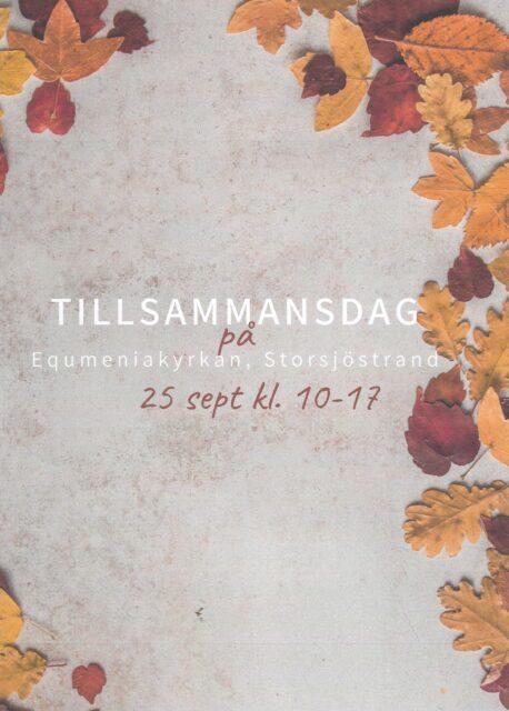 VÄLKOMMEN PÅ TILLSAMMANSDAG! Lördag den 25 september